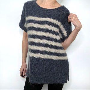 Gap Mohair Blend Blue Striped Short Sleeve Sweater